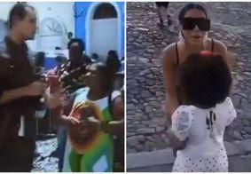 Em link ao vivo, mulher rebate repórter e acusa Anitta de empurrar criança; veja