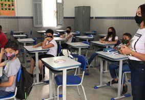 Primeiro dia de aulas presenciais na Escola Epitácio Pessoa, em Tambiá.