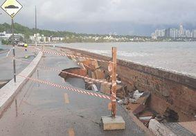 Interrupção de trecho da ciclovia em Cabo Branco, após chuvas em março deste ano.