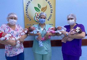 Bebês estão bem, amamentando e com saúde
