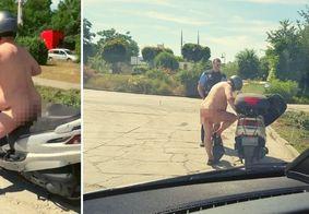 """Polícia flagra homem pilotando moto completamente nu: """"Está quente, né?"""""""