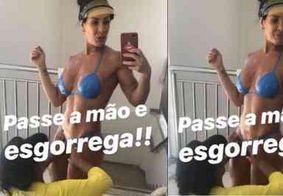 Scheila Carvalho adere ao biquíni de fita para se bronzear