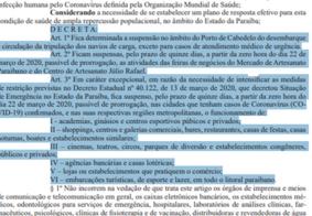 Com serviços afetados, veja o que abre e fecha na Paraíba após decreto sobre pandemia do Coronavírus