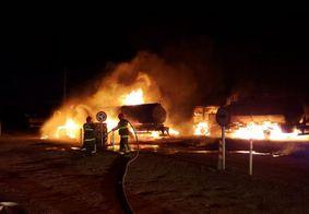 Incêndio de grandes proporções mobiliza equipes dos Bombeiros de três cidades da PB