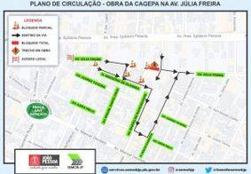 Trecho da Avenida Júlia Freire será bloqueado para serviço de manutenção da Cagepa nesta segunda-feira (22)