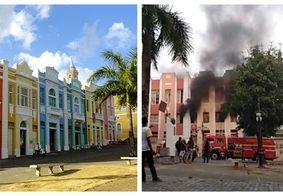 Incêndio atinge prédios do Centro Histórico de João Pessoa