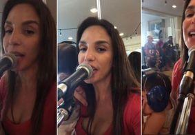 Ivete Sangalo ensaia com uma das filhas gêmeas no colo; assista
