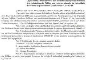 Covid-19: Contratos feitos pelos municípios da PB durante pandemia devem ser divulgados em site da transparência, diz lei