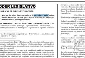 Reforma da Previdência para servidores públicos da PB é publicada
