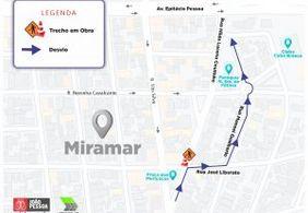 Trecho de ruas no bairro do Miramar será interditado nesta segunda (2) para execução de serviço da Seinfra
