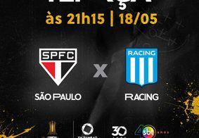 São Paulo x Racing, ao vivo e exclusivo na tela da TV Tambaú