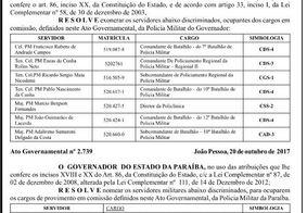 Diário Oficial da Paraíba traz mudanças na Segurança Pública