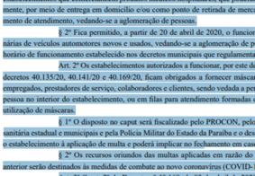 Publicada no DOE prorrogação do decreto de isolamento social por mais 15 dias na Paraíba