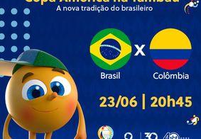 Brasil e Colombia, ao vivo, na TV Tambaú