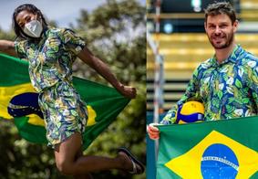 O uniforme de desfile traz na estampa os peixes amazônicos como elementos centrais