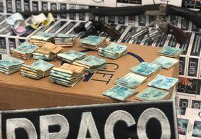 Cigarros contrabandeados apreendidos pela Polícia Civil na PB.