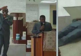 Vídeo mostra momento em que pasto morre no altar, enquanto pregava; veja