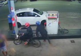 Câmeras de segurança flagram assalto a posto de combustíveis na PB