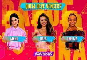 Enquete aponta possível grande vencedora do BBB20: Manu, Rafa ou Thelma?