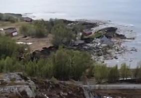 Casas e prédios são destruídos após deslizamento de terra na Noruega