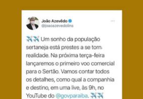 Postagem do governador João Azevêdo