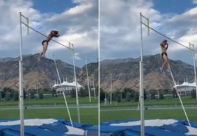 Atleta de salto com vara leva 18 pontos no saco escrotal após acidente durante treino; veja