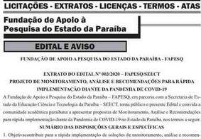Cientistas com pesquisas sobre o coronavírus podem ter financiamento do Governo da Paraíba